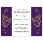 Purple and White Peacock Wedding Invitation