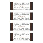 Personalized wedding return address labels in gray, white, and FAUX copper foil with an ornate scroll on them.