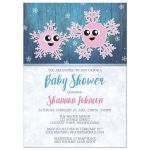Baby Shower Invitations - Girl Rustic Winter Cute Snowflake