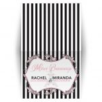 Chic Eiffel Tower or Paris themed pink, black and white B'Not Mitzvah or Bat Mitzvah thank you card