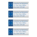 Royal blue and silver gray floral wedding return address mailing labels.