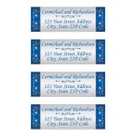 Royal blue and silver grey floral wedding return address mailing labels with ornate scroll.