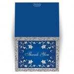 customizable royal blue and silver gray floral wedding thank you cards.