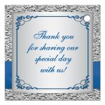 Personalized royal blue and silver gray floral wedding favor tag with joined jewel hearts, ribbon, and bow.