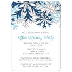 Holiday Party Invitations - Blue Silver Snowflake Winter