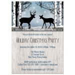 Christmas Party Invitations - Deer Rustic Blue Winter Snowflakes