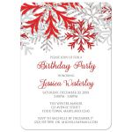 Birthday Invitations - Winter Snowflake Red Silver