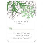 RSVP Reply Cards - Winter Snowflake Green Silver