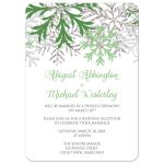 Reception Only Invitations - Winter Snowflake Green Silver