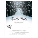 RSVP Reply Cards - Winter Snowy Road Tree Lights