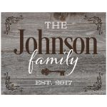 Rustic weathered barn board wood look art print is personalized with your family name and year of establishment.