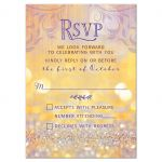 Unique gold and purple magical ballroom fairy tale Bat Mitzvah RSVP card front