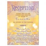 Gold and purple magical ballroom fairy tale Bat Mitzvah reception insert card front