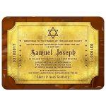 Chocolate golden ticket Bar Mitzvah invitation or golden ticket Bat Mitzvah invitation front