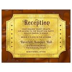 Chocolate golden ticket Bar Mitzvah reception card or golden ticket Bat Mitzvah reception card front