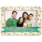 Modern holly berries Christmas photo greeting card front