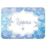 Frozen blue, purple, and white snowflakes winter Bat Mitzvah RSVP enclosure card insert.