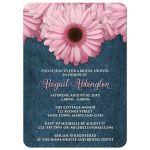 Bridal Shower Invitations - Rustic Pink Daisy Denim