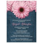 Baby Shower Invitations - Rustic Pink Daisy Denim