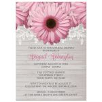 Bridal Shower Invitations - Rustic Pink Daisy Wood Gray