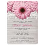 Baby Shower Invitations - Rustic Pink Daisy Wood Gray