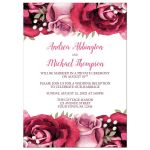 Reception Only Invitations - Burgundy Pink Rose White Rustic
