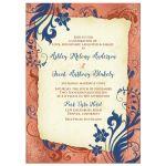 Copper, navy blue, and ivory vintage floral wedding invitation front