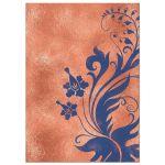 Copper, navy blue, and ivory vintage floral wedding invitation back