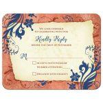 Copper, navy blue, and ivory vintage floral wedding RSVP card front