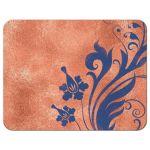 Copper, navy blue, and ivory vintage floral wedding RSVP card back