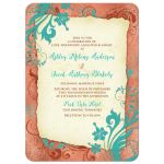 Copper, turquoise, and ivory vintage floral wedding invitation front