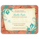 ​Copper, turquoise, and ivory vintage floral wedding RSVP card front