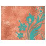 Copper, turquoise, and ivory vintage floral wedding RSVP card back