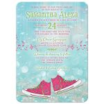 Converse shoes dance ballroom with music Bat Mitzvah invitation