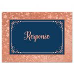 Navy blue and orange rose gold wedding RSVP enclosure card insert with flowers, vines, and decorative scroll frame.