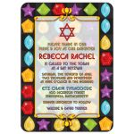Unique jewel puzzle video game Bat Mitzvah invitation with Jewish Star of David front