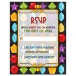 Unique jewel puzzle video game Bat Mitzvah RSVP card front