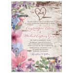 Woodland or woodsy birch watercolor floral and birds wedding invitation front