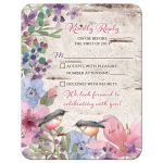 Woodland or woodsy birch watercolor floral and birds wedding RSVP card front
