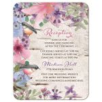 Woodland or woodsy birch watercolor floral and birds wedding reception card front