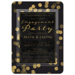Gold Confetti Elegant Engagement Party Invite