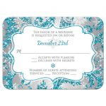 Aqua blue, silver, and white snowflakes and glitter damask pattern Bat Mitzvah rsvp enclosure card with Star of David.