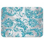 Turquoise blue, silver, and white snowflakes and glitter damask pattern Bat Mitzvah rsvp enclosure card with Star of David.