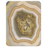 Unique agate geode geology wedding RSVP reply card in blush pink, champagne, gold, and grey back