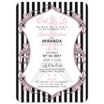 Chic Eiffel Tower or Paris fashion pink, black and white sweet 16 invitation front