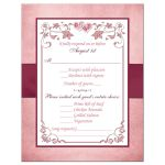 Burgundy, blush pink, rose gold and white floral wedding reply response RSVP enclosure card with burgundy ribbon, bow, and glittery crystal jewels double hearts buckle brooch with rose gold metallic border.