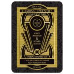 Roaring twenties art deco black and gold engagement party invitation​ front