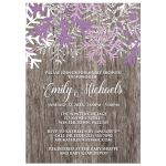 Baby Shower Invitations - Purple Snowflake Rustic Winter Wood