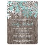 Bridal Shower Invitations - Teal Snowflake Rustic Winter Wood