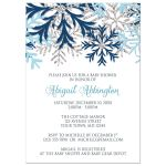 Baby Shower Invitations - Winter Snowflake Blue Silver